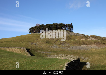 The Ancient Hilltop Tumulus of Kirkcarrion in Lunedale Teesdale County Durham UK - Stock Photo