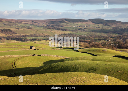 The View from the Ancient Hilltop Tumulus of Kirkcarrion Across the Tees Valley Towards Eggleston Common Teesdale - Stock Photo