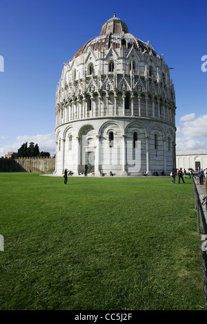 The Baptistry of the Cathedral of Pisa, Piazza dei Miracoli, Pisa, Italy - Stock Photo