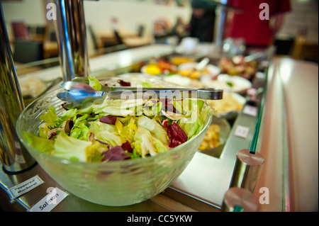 Buffet counter of salad cold meats fruits rice and pasta - Stock Photo