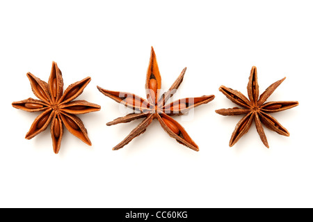 Star anise fruits on a white background - Stock Photo