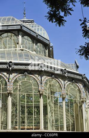 Glasshouse detail in Retiro Park (Madrid, Spain) - Stock Photo