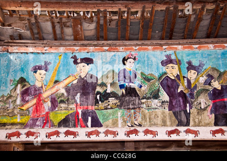 Detail of painting in a Wind and Rain Bridge - Zhaoxing, Guizhou province (China) - Stock Photo