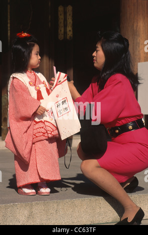 Japan, Tokyo, 7-5-3 children's festival, mother and daughter, - Stock Photo