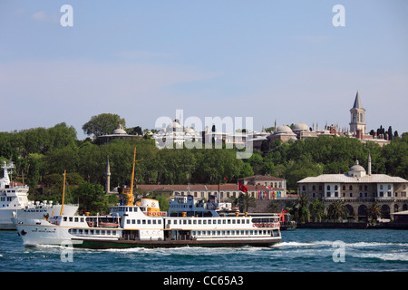 Turkey, Istanbul, Golden Horn, Topkapi Palace, ferry boat, - Stock Photo