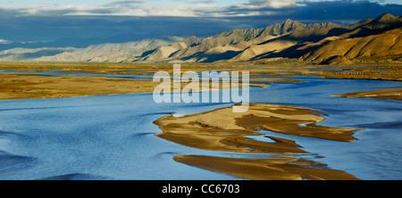 High angle view of Pangong Tso, Ngari, Tibet, China - Stock Photo