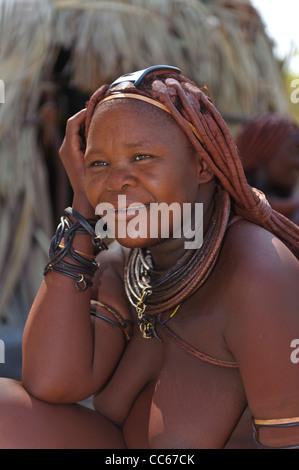 Portrait of Himba woman. Kaokoland, Northern Namibia.