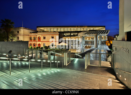 The New Acropolis Museum in the 'blue' hour. Athens, Greece - Stock Photo