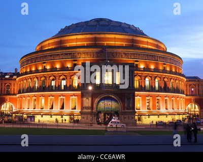 View of the Royal Albert Hall  in the early evening dusk twilight - Stock Photo