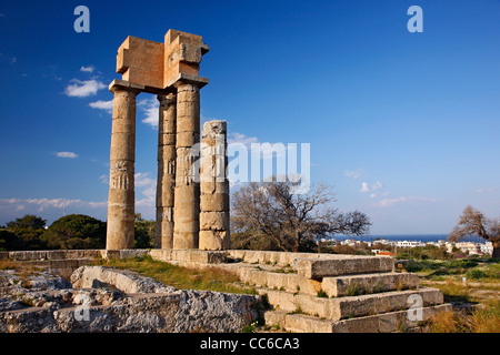 The temple of Pythion Apollo, on the hill of Monte Smith, where the Acropolis of ancient Rhodes is located, Dodecanese, - Stock Photo