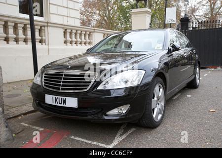 kuwaiti ambassadors official car parked outside the embassy in Knightsbridge London England UK United kingdom - Stock Photo