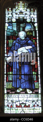 Stained glass window showing William, installed in Malmesbury Abbey - Stock Photo