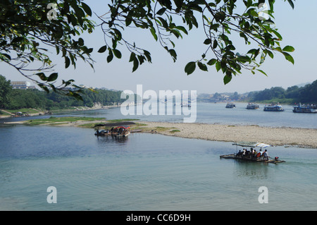Tour boat on Li River, Guilin, Guangxi , China - Stock Photo