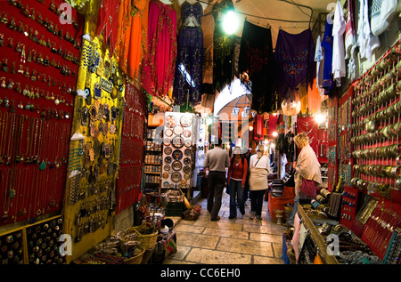 Souvenir shops in the old bazaar in the old city of Jerusalem. - Stock Photo