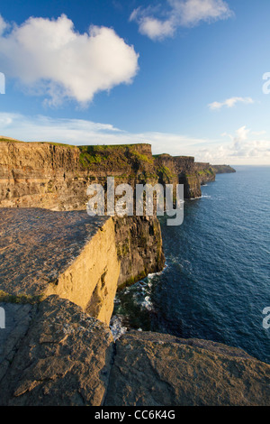 Evening light on the Cliffs of Moher, The Burren, County Clare, Ireland. - Stock Photo