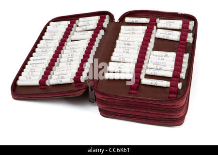 many homeopathic globule ordered by name. No product names, just common names of homeopathic medicine - Stock Photo