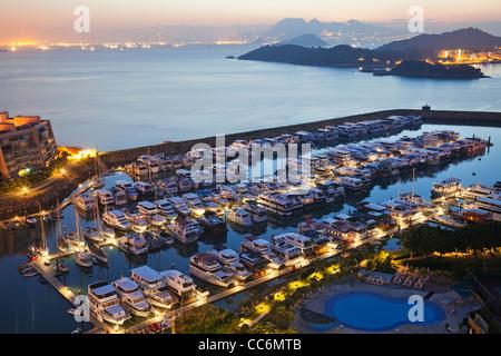 China, Hong Kong, Lantau, Discovery Bay, Discovery Bay Marina Club - Stock Photo