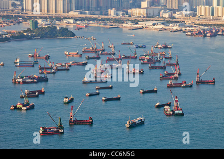 China, Hong Kong, Victoria Harbour, Ships and Lighters - Stock Photo