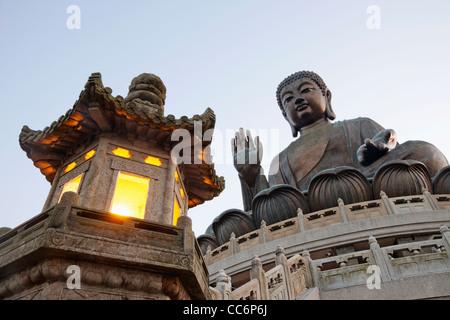 China, Hong Kong, Lantau, Po Lin Monastery, Giant Buddha Statue - Stock Photo