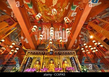 China, Hong Kong, Lantau, Interior of Po Lin Monastery - Stock Photo