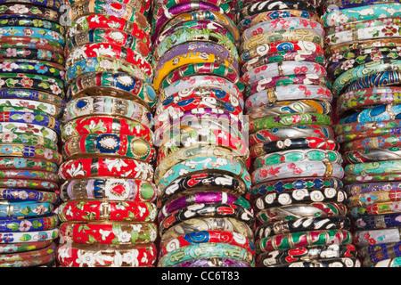 China, Hong Kong, Stanley Market, Display of Bangles - Stock Photo