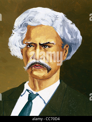 Mark Twain (1835-1910). American author and humorist. Portrait. Color drawing. - Stock Photo