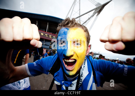 Leinster fans celebrate their side's win over Northampton to be crowned Heineken Cup Champions.