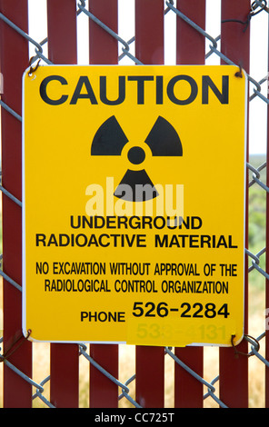 Radiation caution sign at the EBR-I decommissioned research nuclear reactor atomic museum located near Arco, Idaho, - Stock Photo