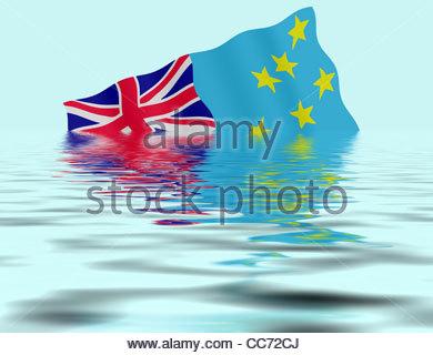 Digital Illustration - Global warming concept - Tuvalu sinking. - Stock Photo
