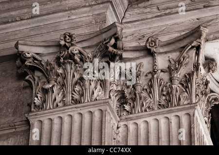 Stone carving detail within The Pantheon,a Roman temple dedicated to all the gods of pagan Rome - Stock Photo