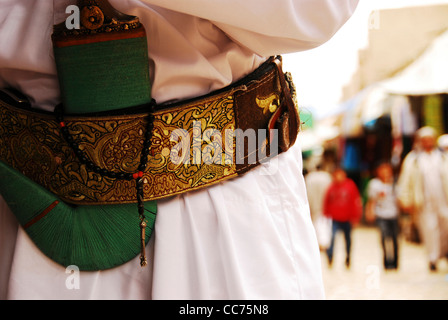 Yemen, Sanaa, close-up of a traditionally dressed man with a dagger in his belt - Stock Photo