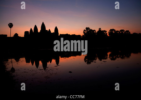 Sunrise at Angkor Wat, Angkor area, Siem Reap, Cambodia, Asia. The world's largest religious building - Stock Photo