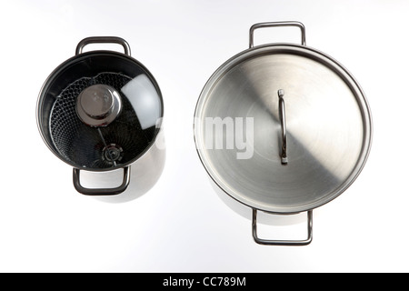 Compilation of various kitchen utensils, kitchen tools. Pots. - Stock Photo