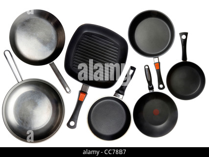 Compilation of various kitchen utensils, kitchen tools, pans. - Stock Photo