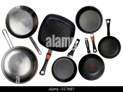 Compilation of various kitchen utensils, kitchen tools, pans. - Stock Photo