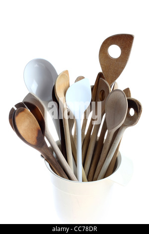 Various types of cooking spoons, wooden  spoons. Kitchen devices. - Stock Photo