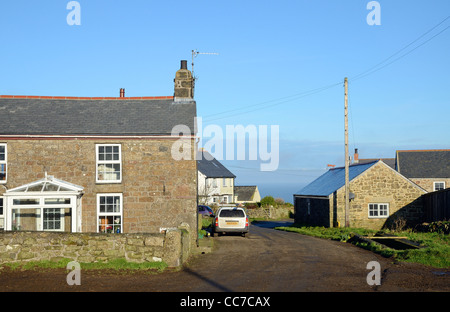 Cottages in the hamlet at gurnards head in cornwall, uk - Stock Photo