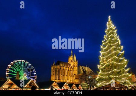 Christmas market with cathedral, Erfurt, Thuringia, Germany, Europe - Stock Photo