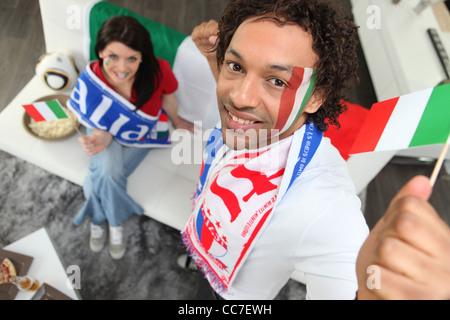 Italian football supporters - Stock Photo