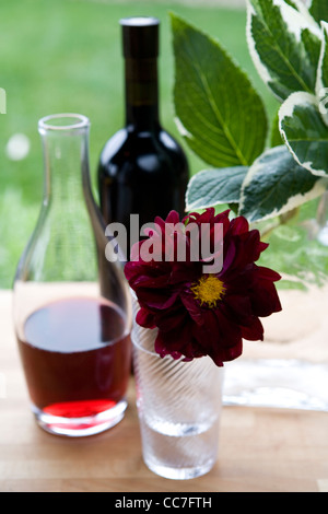 Wine in carafe and flower in vase - Stock Photo