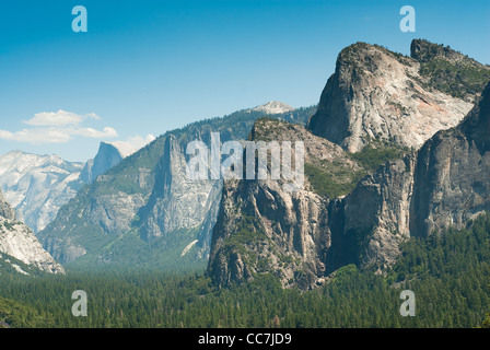 half dom and yosemite valley from tunnel view in yosemite national park, california, usa - Stock Photo