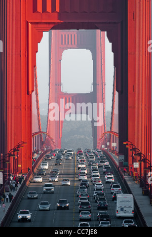 traffic on golden gate bridge, san francisco, california, usa - Stock Photo
