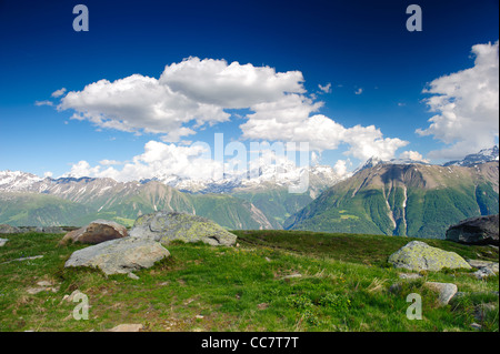 mountain panorama from fiescheralp, wallis, switzerland - Stock Photo