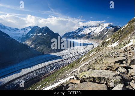 aletsch glacier from breithorn, valais switzerland - Stock Photo