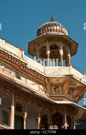 Colourful house with a dome, Pushkar, Rajasthan, India