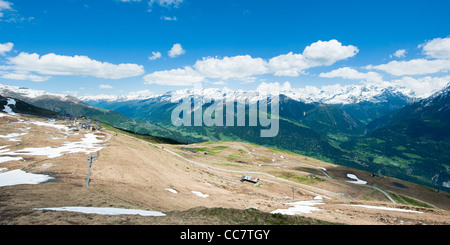 Panorama of swiss alps from Fiescheralp, Wallis, Switzerland - Stock Photo