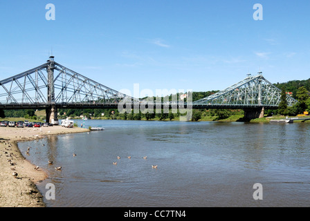 Bridge Loschwitzer Bruecke at the river Elbe in Dresden - Stock Photo