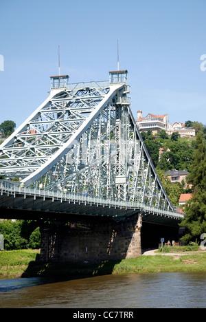 Bridge Loschwitzer Bruecke at the river Elbe in Dresden - Stock Photo
