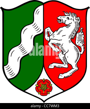 Coat of arms of the German federal state North Rhine Westphalia. - Stock Photo