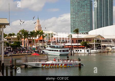 excursion ships in the marina at Bayside Marketplace, Downtown Miami, Florida, USA - Stock Photo